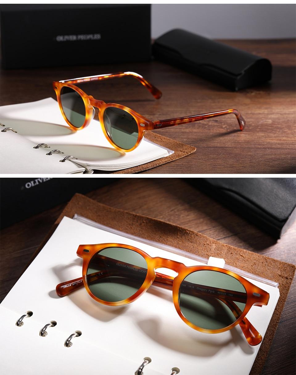 Vintage Gregory peck men  women sunglasses  brand designer polarized sun glasses round glasses eyeglasses gafas de sol UV400
