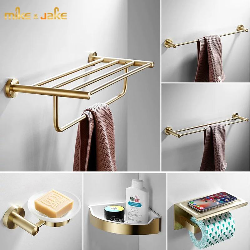Ванная комната латунь Золотая щетка Полка для полотенец латунная матовая вешалка для полотенец набор для ванной вешалка для полотенец в ту...