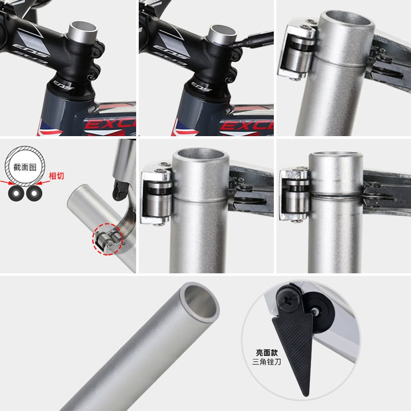Купить с кэшбэком Cycling Repair Tool Mountain Bike Front Fork Pipe Cutter Aluminum Alloy Bike Head Tube Pipe Handlebar Seat Post Cutting Tool JC