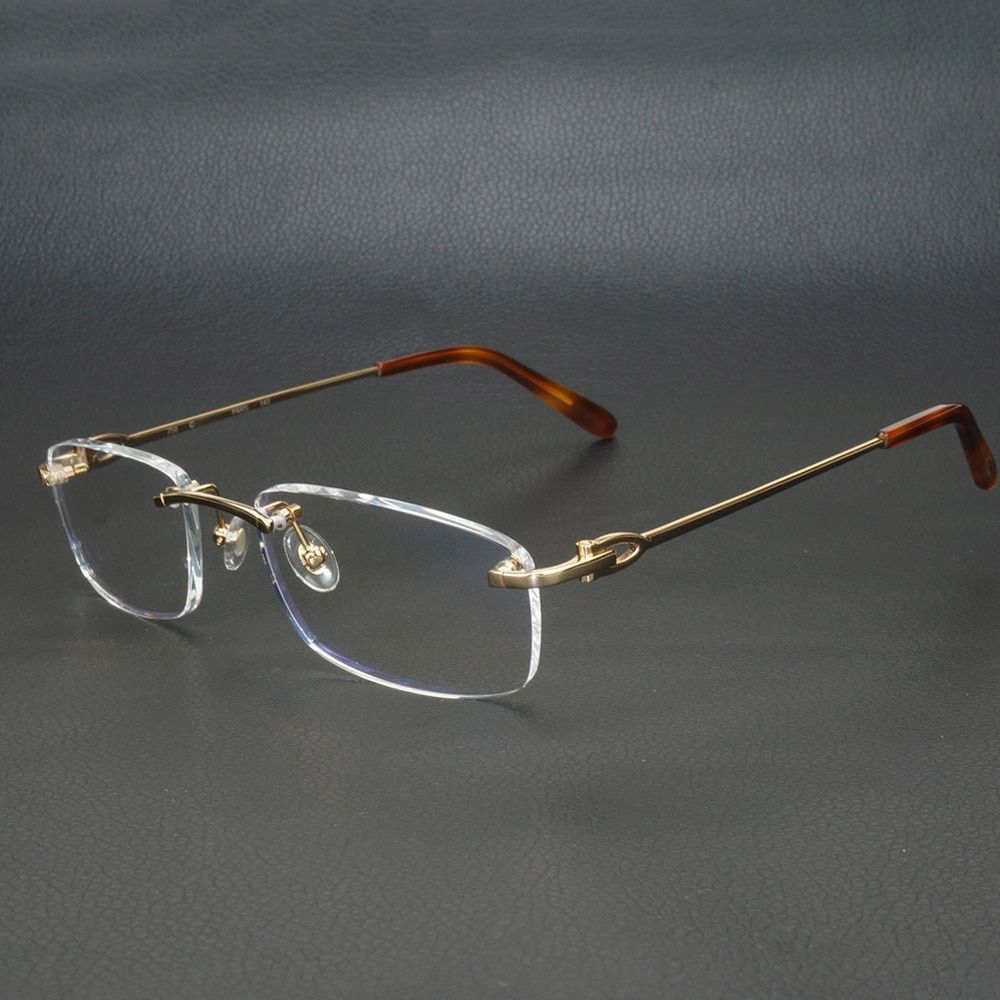 إطارات النظارات المعدنية المربعة للرجال والنساء ، نظارات بدون إطار ، عدسات بصرية كارتر ، للكمبيوتر ، 9011