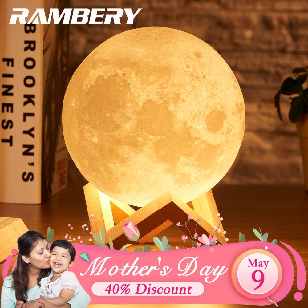 Настольная лампа Rambery moon, светодиодная с 3D-принтом, перезаряжаемая, с 16 цветовыми вариантами