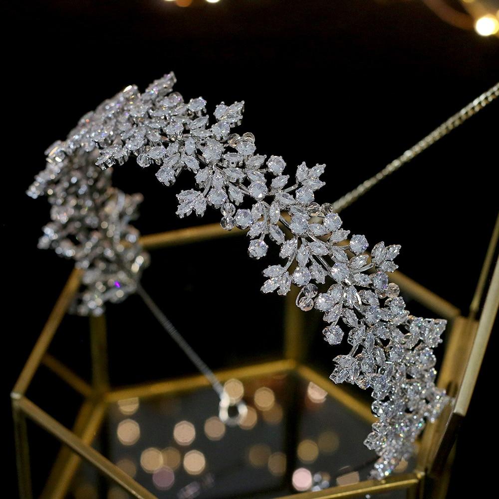High Quality Crystal Bride Headband Hair Band 100% Zirconia Female Jewelry Wedding Hair Accessories Tiara Crown
