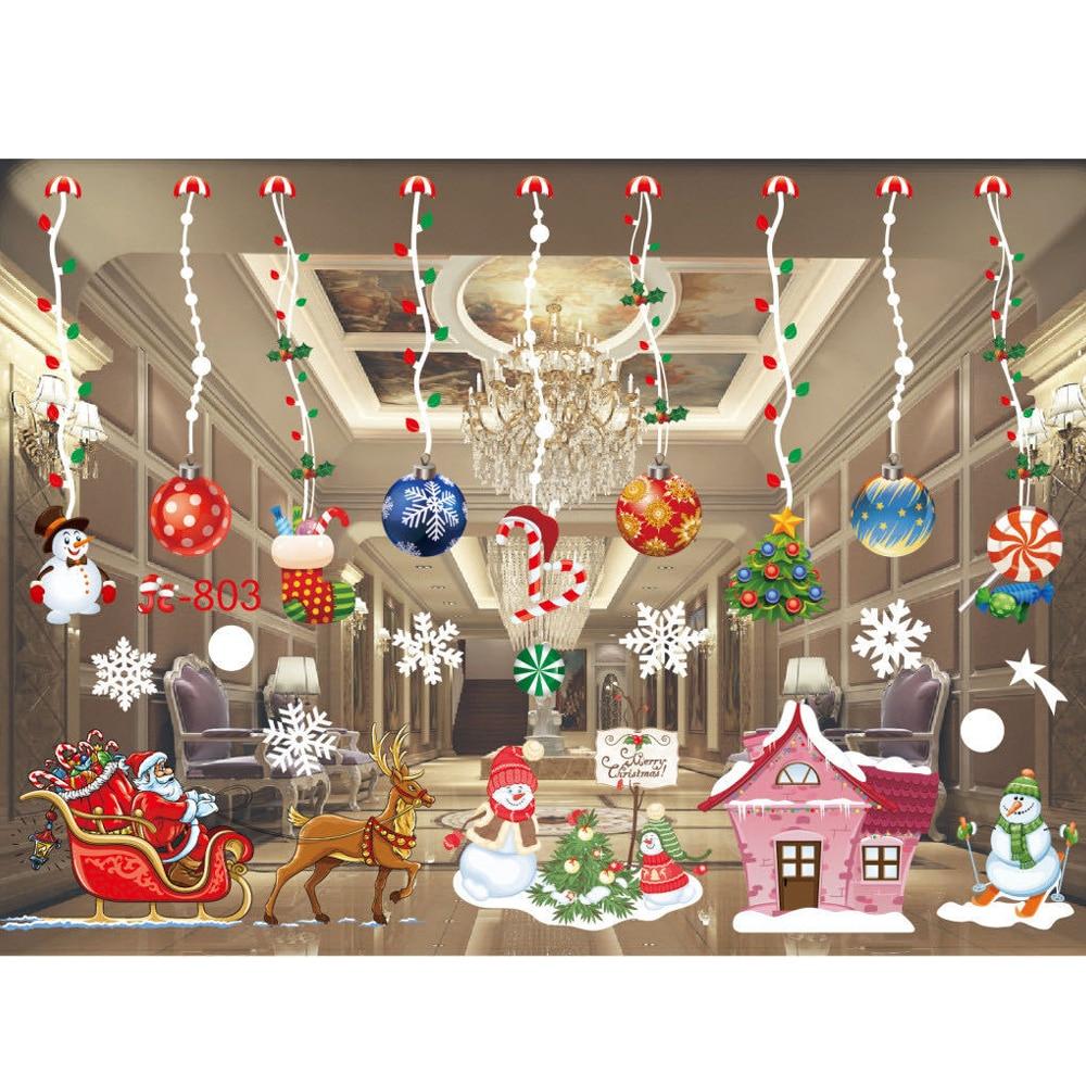 Домашний декор, наклейки на окна, рождественские наклейки, Санта-Клаус, снежинки, наклейки на окна, художественные наклейки, настенный магаз...
