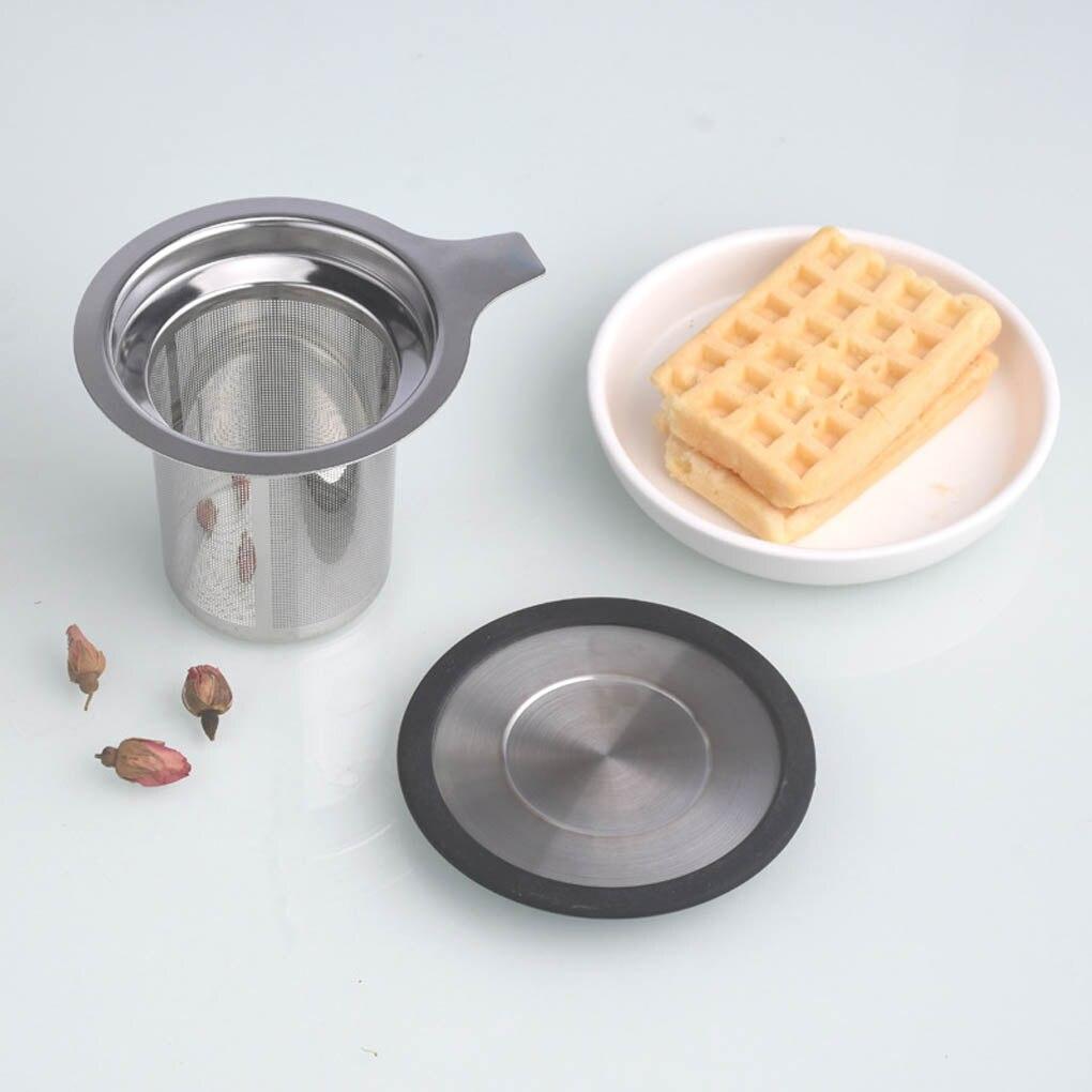 Cesta de infusores de té de acero inoxidable, colador de té de malla fina, tapa de filtro de té y café con 1/2 asas reutilizables
