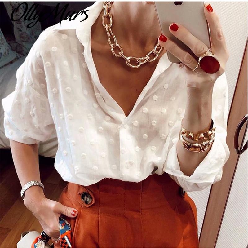 Blusas blancas para mujer de moda de otoño, Túnica de manga larga para playa, camisa informal de lunares para oficina, Blusa de gasa negra Ropa nueva mujer