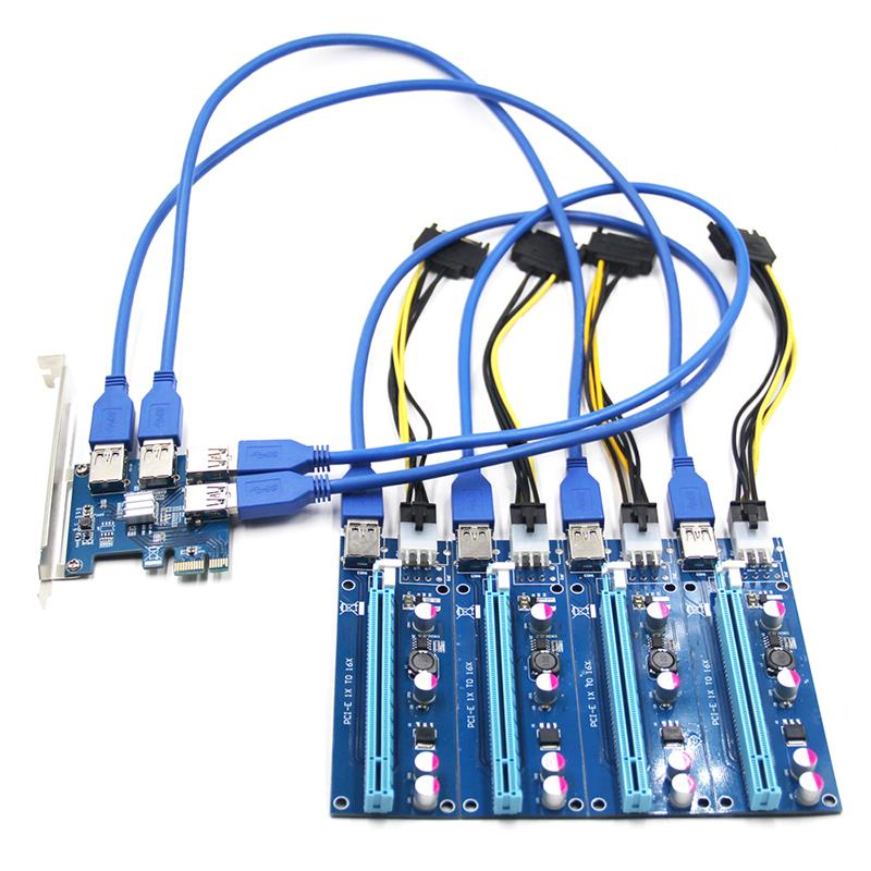 PCI-E-لوحة رفع احترافية ، محول 1 إلى 4 ، 4 منافذ ، PCIe ، منفذ مضاعف ، لعمال التعدين