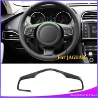 for jaguar f pace 2016 2019 steering wheel decorative frame real carbon fiber car interior modification accessories