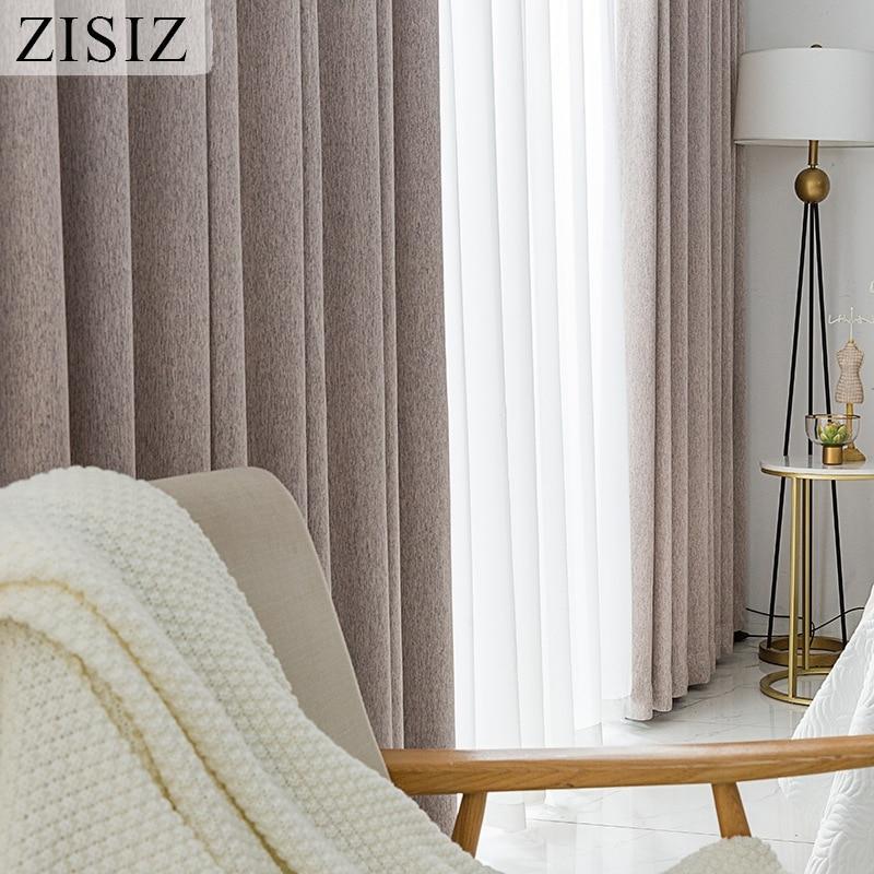 ZISIZ Jacquard apagón cortinas para sala de estar de lino de imitación con aislamiento térmico cortinas de dormitorio personalizado