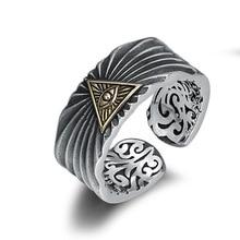 925 argent Sterling rue Culture oeil de dieu bague réglable pour hommes ouverture bague joyas de plata 925 bijoux
