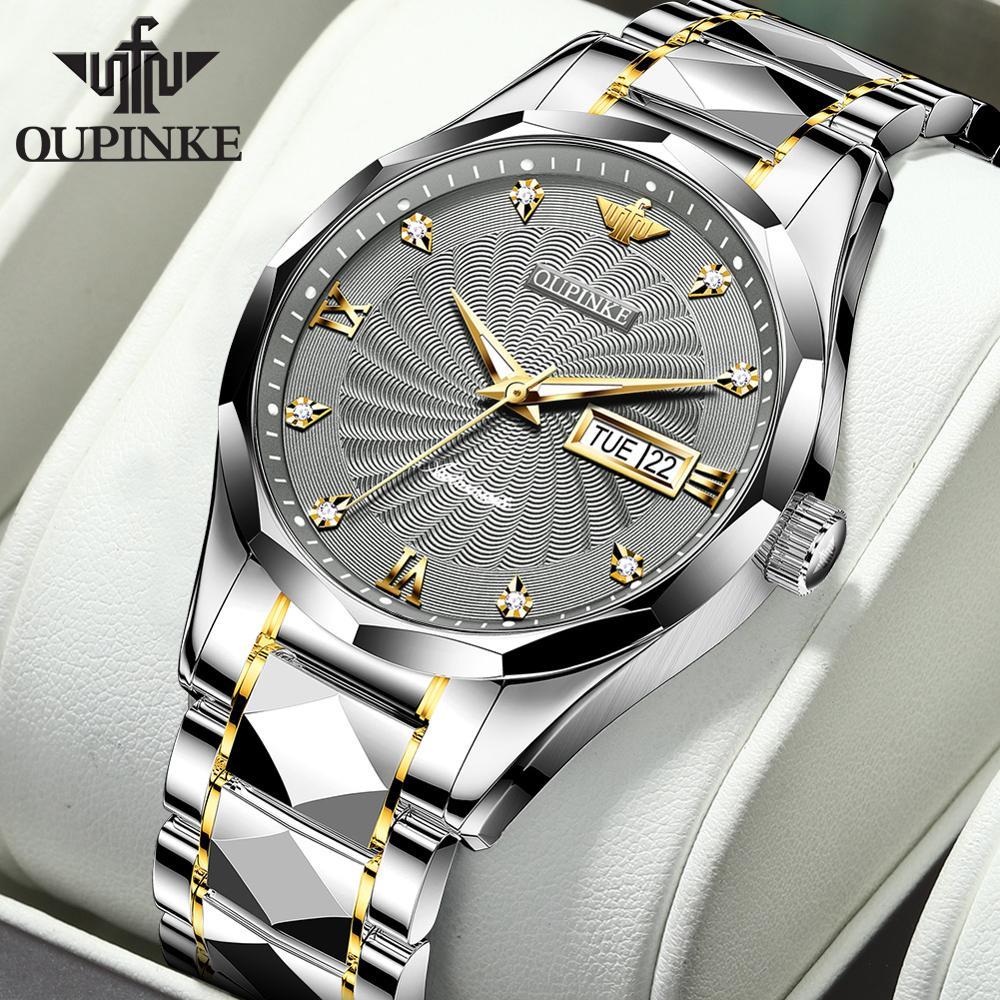 Reloj mecánico automático OUPINKE para hombre con acero de tungsteno resistente al agua con movimiento japonés fecha superior marca de lujo reloj de negocios para hombre