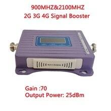 Ретранслятор ZQTMAX 2G 3G, усилитель сигнала мобильного телефона GSM UMTS 900 2100, двухдиапазонный усилитель сигнала 70 дБ, ретранслятор сигнала сотовой связи
