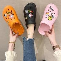 hot sale diy womens clogs sandals slippers summer hollow out mesh flats beach crocks non slip comfortable garden sandals