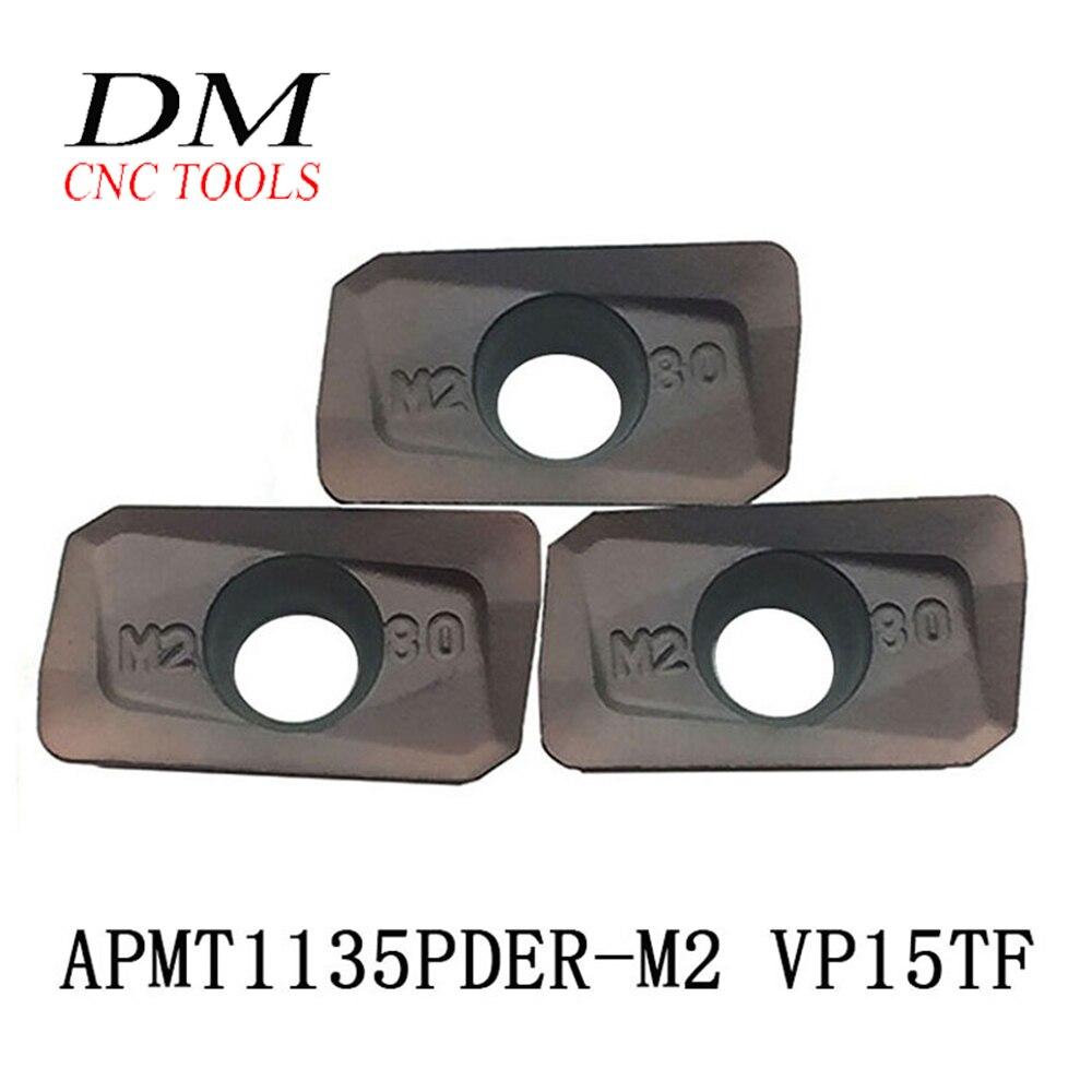 10 Uds. APMT1135PDER-M2 VP15TF insertos de carburo de fresado redondo cortador de fresado de cara chap300 SRM2 insertos de fresado Universal