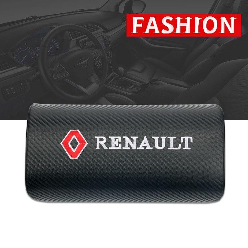 Almohadas de cuello de coche de fibra de carbono para ambos lados, funda de reposacabezas individual para Renault Megane 2 3, Duster Logan Clio Laguna 2
