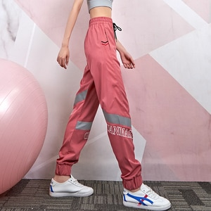 Lusure loose pants women spring and autumn running fitness trend reflective closing outdoor casual pants lightweight breathable