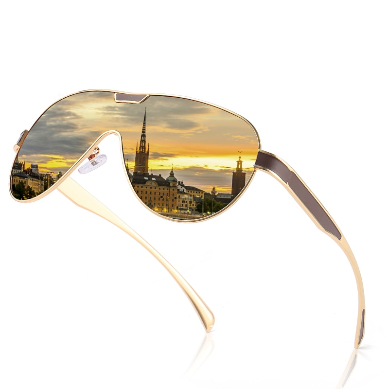 SC One-piece Shape Men Sunglasses Polarized Elastic Paint Surface Sun Glasses Women Sports Shield Gl