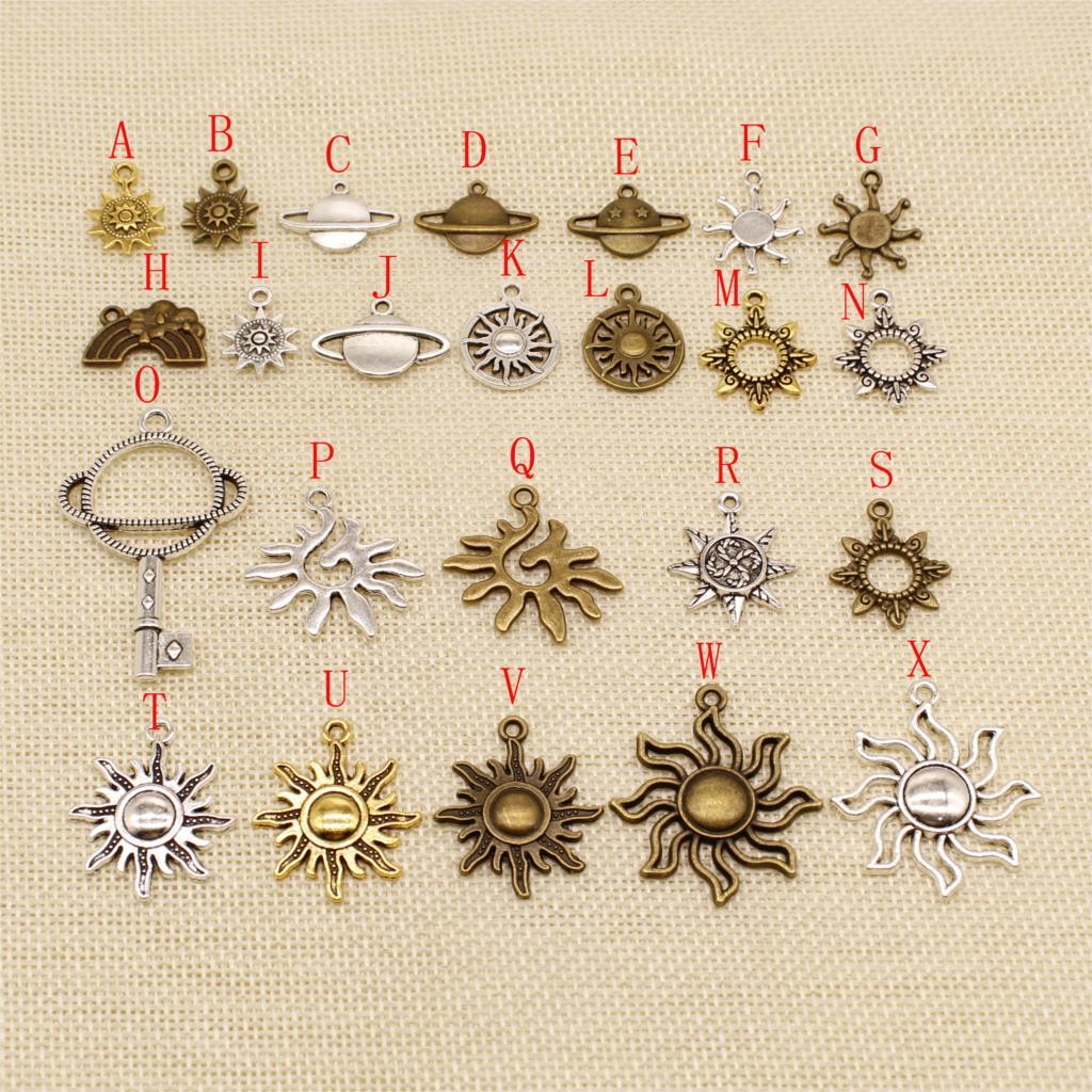 20 Uds Metal bronce plateado sol Celestial cuerpo encantos colgante para la fabricación de joyería pulsera abalorios chapados en plata encanto