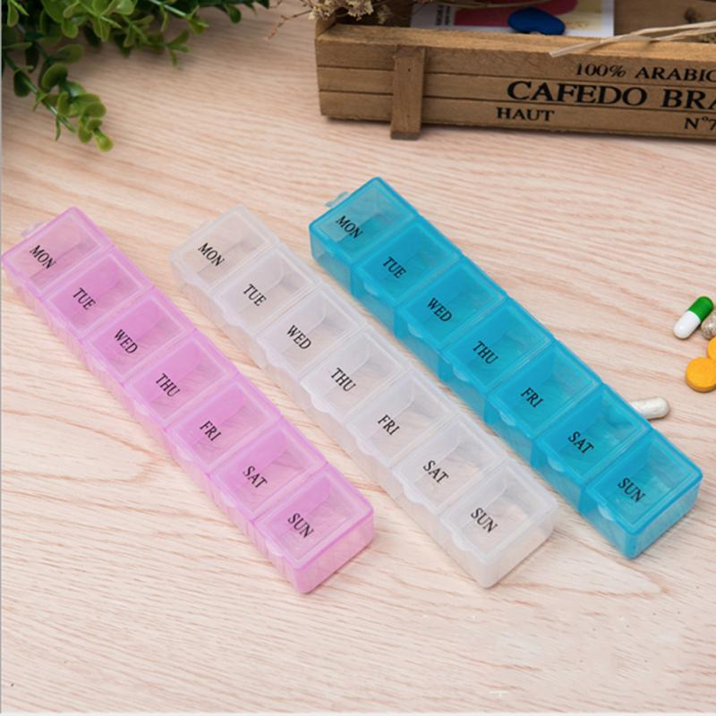 Portable 7 Day Pill Box Organizer Daily Weekly Tablet Travel Medicine Grid Mini One Week