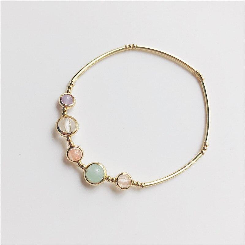 Pulseras elásticas de cristal de fresa de piedra Natural para mujeres, aleación de cobre, engaste de oficina, brazaletes coloridos