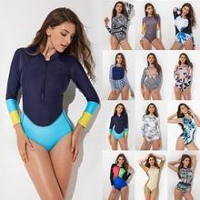 2020 imprimer fleur Rashguard une pièce maillot de bain à manches longues maillot de bain femme rétro maillot de bain Vintage surf maillots de bain