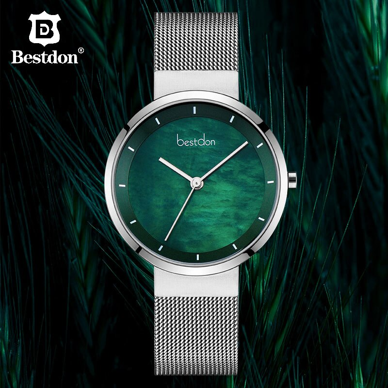 Bestdon Starry Sky Green Women Watches Luxury Brand Simple Quartz Woman Watch Silver Stainless Steel