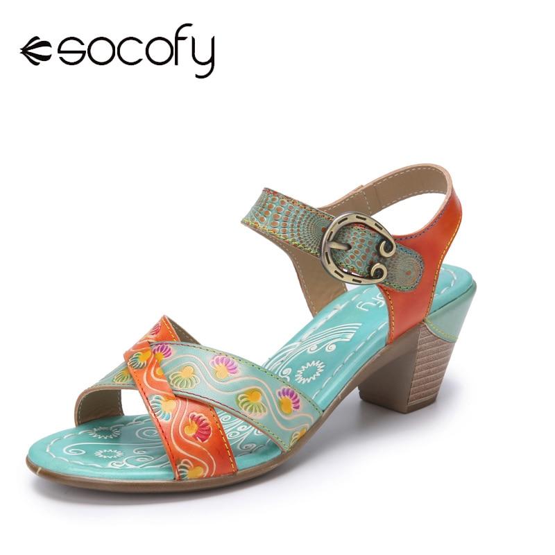 Socofy Retro Ethnic Print Leather Cross Straps Metal Buckle Hook Loop Comfy Chunky Heel Sandals Wome
