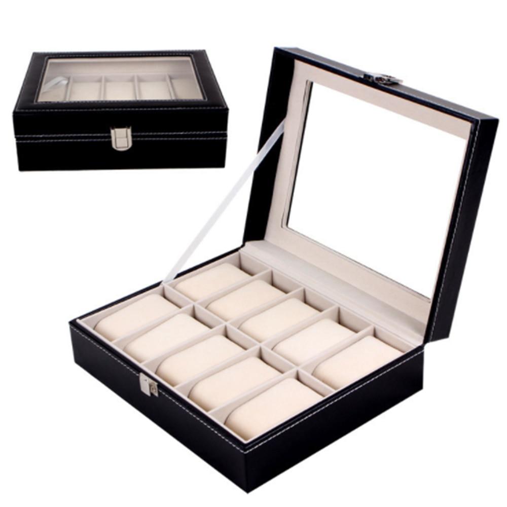 10 شبكات الجلود ساعة شاشة عرض صناديق صندوق مجوهرات حقيبة التخزين فتحات المعصم علبة عرض الساعة تخزين حامل