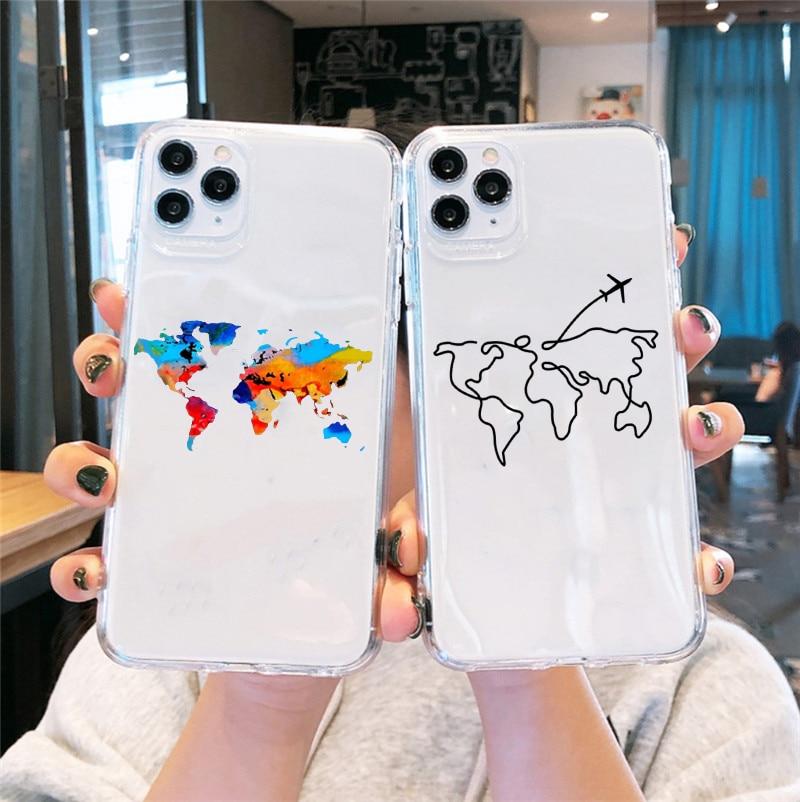 GYKZ mundo mapa viaje a aviones claro estuche para teléfono suave para iPhone 11 Pro SE 2020 XR X XS X MAX 7 8 6 Plus cubierta del TPU del Coque
