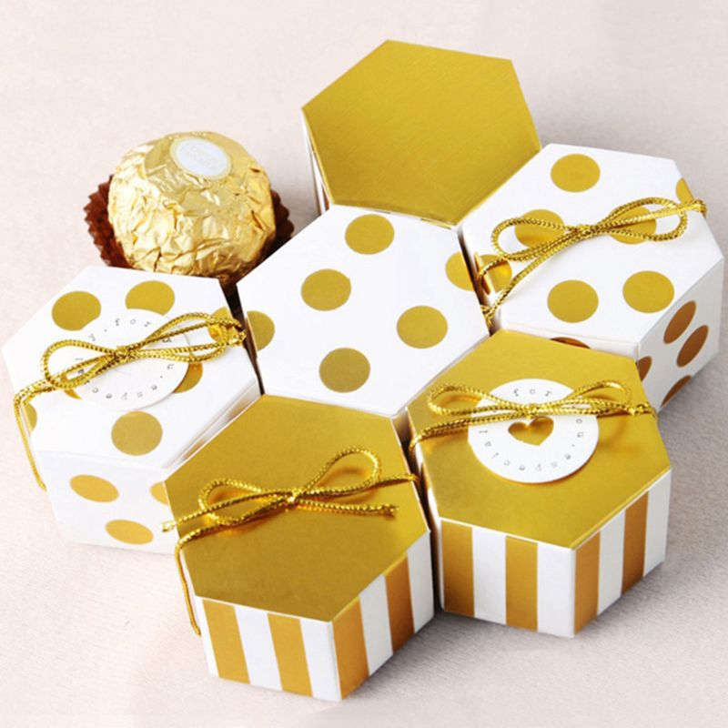 Caja de caramelos hexagonal a granel con cinta dorada y tarjeta redonda, lunares dorados, paquete de 50