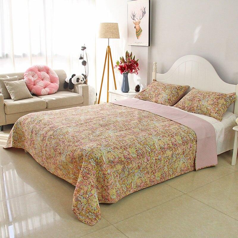 CHAUSUB طباعة لحاف مجموعة 3 قطعة مفرش قطن غطاء السرير كيس وسادة حجم الملك الملكة الصيف بطانية