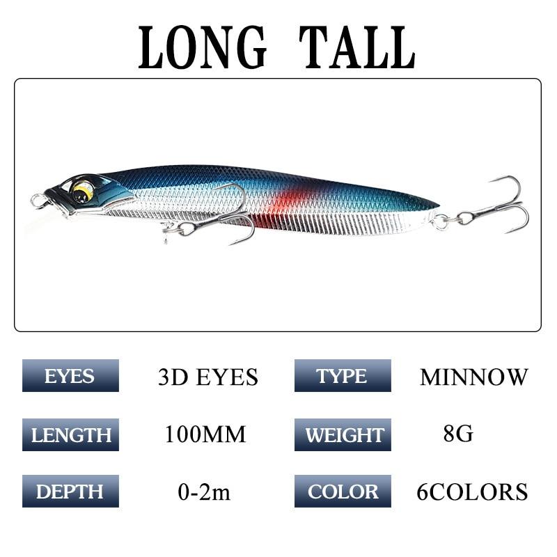3D Eyes 6pcs 8g/10cm Swimbait Fishing Lure Outdoor Artificial Minnow ABS Plastic Hard Bait Wobbler WIth Sharp Hook Bionic Bait enlarge