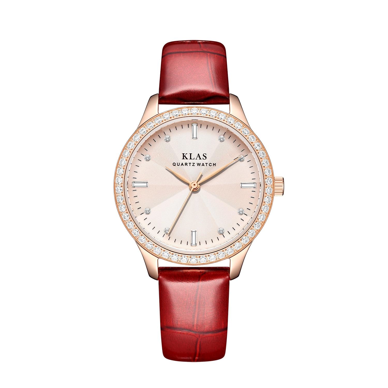 2012 ساعة جلدية جديدة ساعة نسائية ساعة فاخرة موضة كوارتز ساعة مستديرة KLAS العلامة التجارية