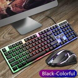 104 jogo teclado com luz de fundo rgb com fio teclado ergonômico telefone titular gamer teclado combo para pc desktop à prova dwaterproof água