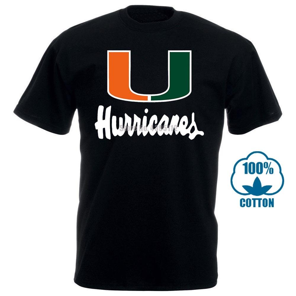 Página um verão moda em torno do pescoço miami hurricane print 100% algodão lazer fitness macio manga curta camiseta masculina