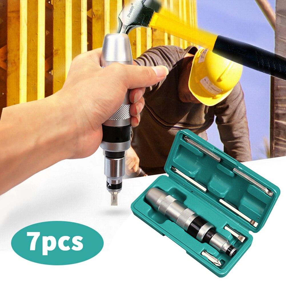 7 pçs multi-purpose chaves de fenda kit resistente choque parafuso driver cinzel bits ferramentas soquete chave de fenda de impacto conjunto com caso plana