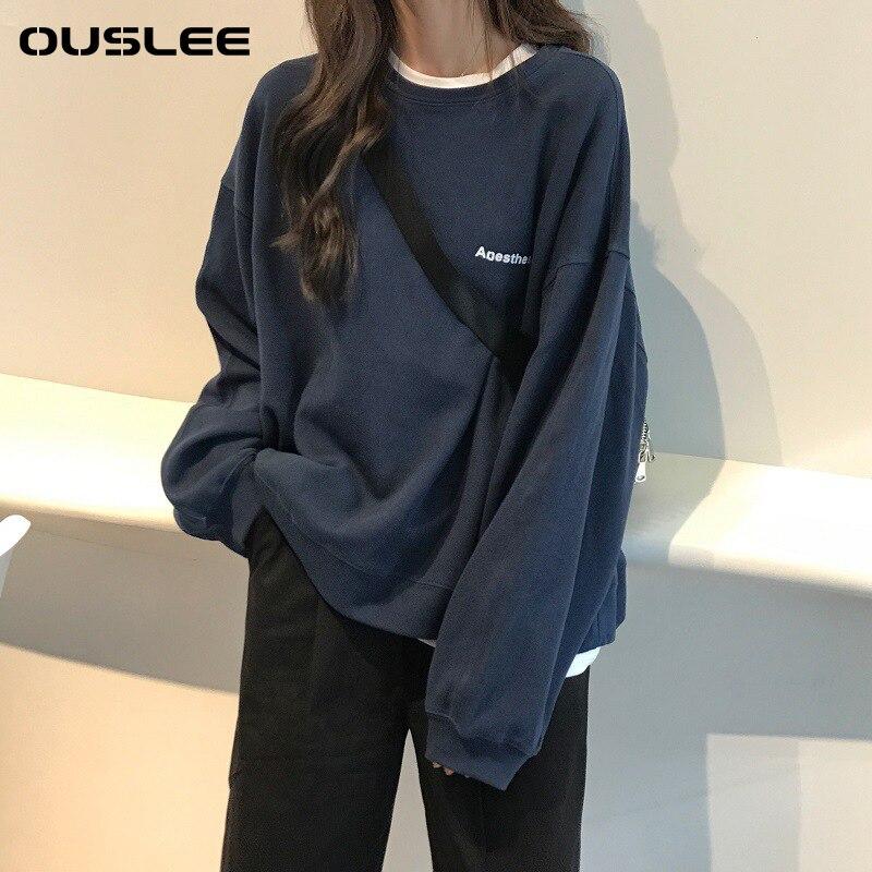 Модные Женские однотонные толстовки Ouslee большого размера с длинным рукавом, без капюшона, весенняя и осенняя уличная одежда для студентов, ...