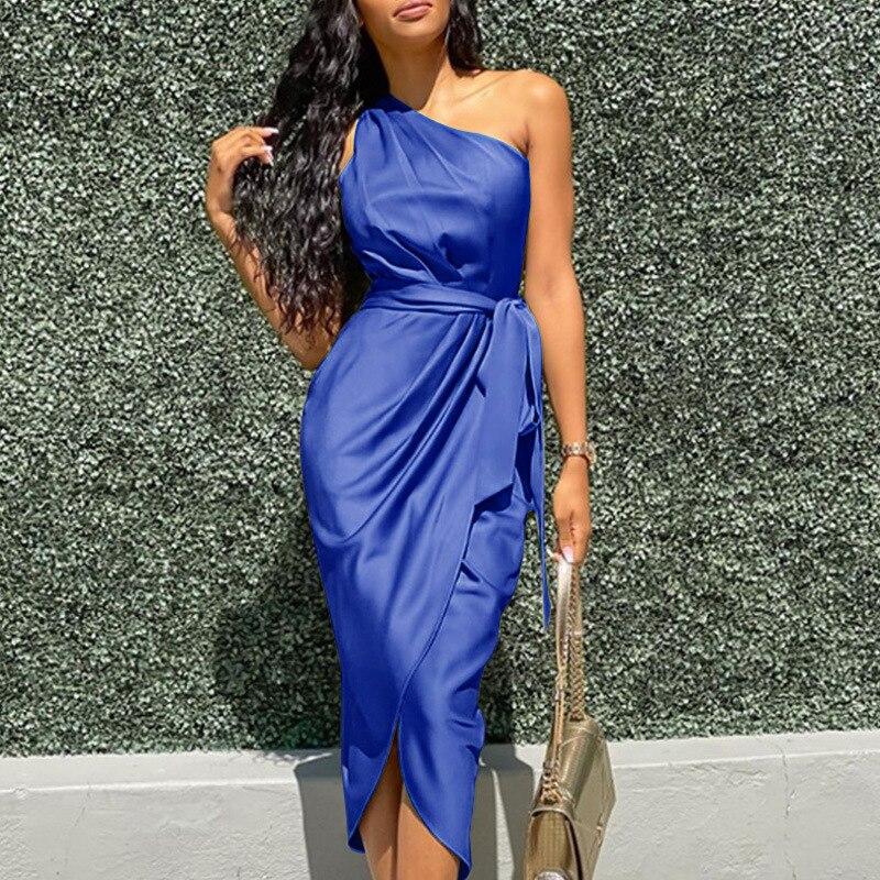 KAISENDZ 2021 New Summer Satin Women Dress Sleeveless Bandage One Shoulder Slim Mini Dress Party Officewear Casual  Women Dress burgundy side pockets one shoulder mini dress