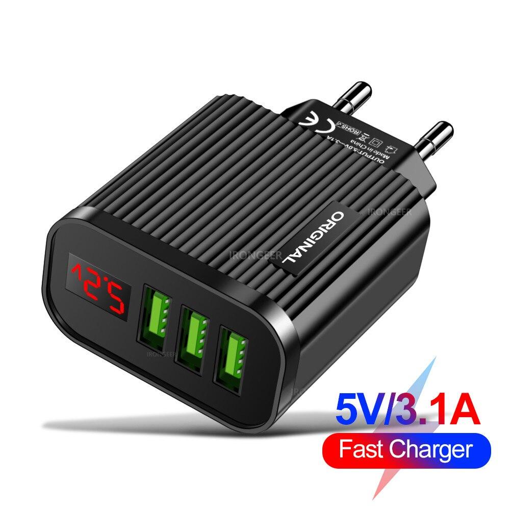 5V 3.1A affichage numérique chargeur USB pour iPhone chargeur 3 USB Portable chargeur de téléphone mural de charge rapide pour Samsung Xiaomi tablette