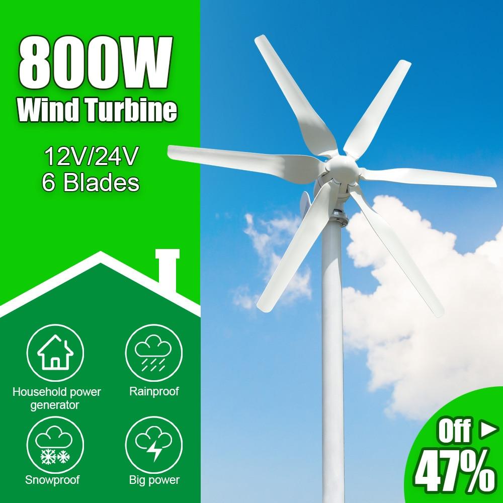 مولد توربينات الرياح بـ 6 شفرات ، 800 واط ، 12 فولت ، 24 فولت ، كفاءة عالية للمنزل ، اليخوت ، المزرعة ، مصابيح الشوارع