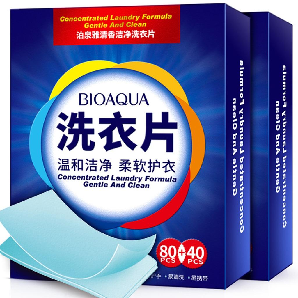 120 Uds nueva fórmula detergente para la ropa Nano Super concentrado jabón para lavar suave hojas de polvo productos de limpieza para la ropa