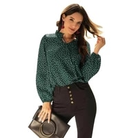 5 color new fall long sleeve lace up chiffon blouses women plus size polka dot tee shirts elegant ladies pullovers female blusas