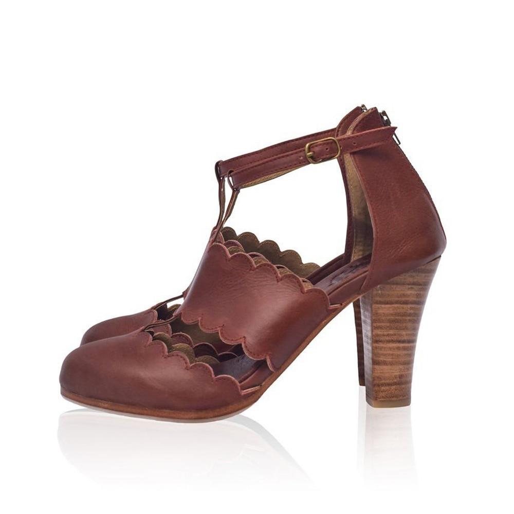 Women high-heeled sandals thick heel buckle round head women's shoes