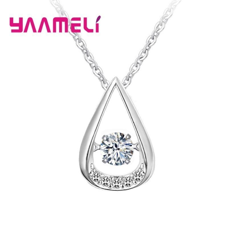 Вращающийся: капли воды, сердце 925 Серебро кулон колье женские ключица цепочка ожерелье высокого качества аксессуар