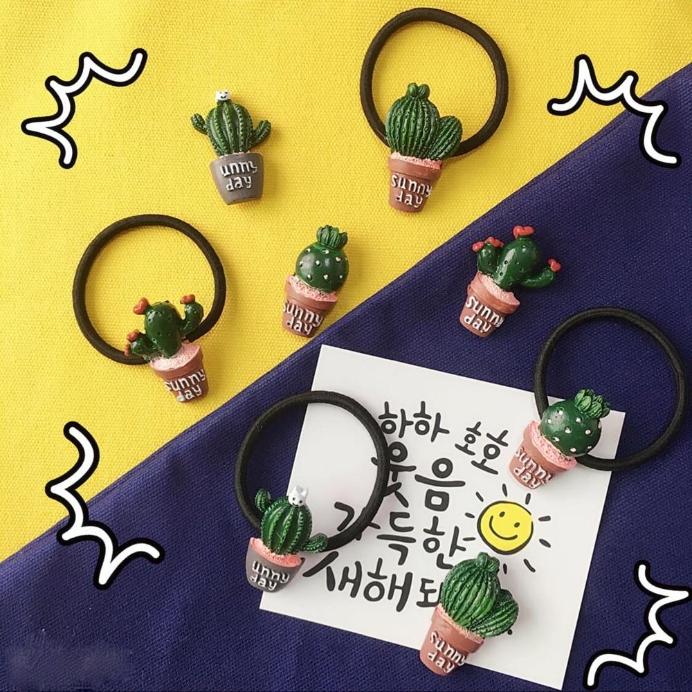 ZMASEY 1PCS Cabelo Laço de Cabelo Acessórios Cactus Cactus Imã de geladeira Canela Bola Headwear Elasticidade Material de Resina