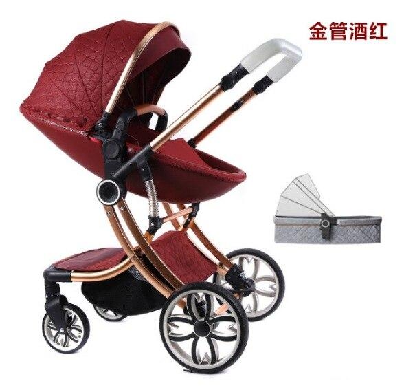 Four Wheels Stroller Travel Lightweight Stroller Can Sit Lie Down Luxury Stroller Pushchair Baby Stroller Newborn Buggy Baby Car enlarge