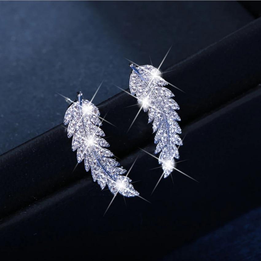Cxwind brincos de noiva, brincos de folha de cristal, escaladas, joias de casamento, brincos de ramo