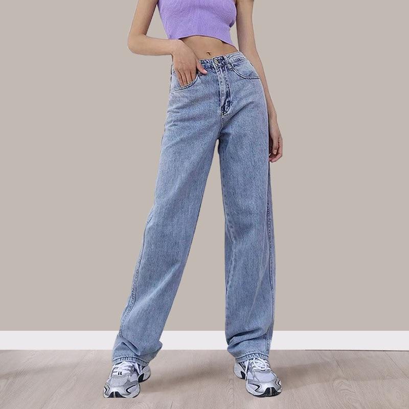 Женские джинсы Mom с высокой талией, прямые широкие джинсовые брюки, мешковатые состаренные брюки-бойфренды для женщин, повседневные длинные...