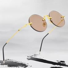 Vintage Randloze Zonnebril Vrouwen Mannen Glazen Lens Retro Ronde Zonnebril Natuurlijke Kristal Steen Zonnebril Bril Goud Oculos