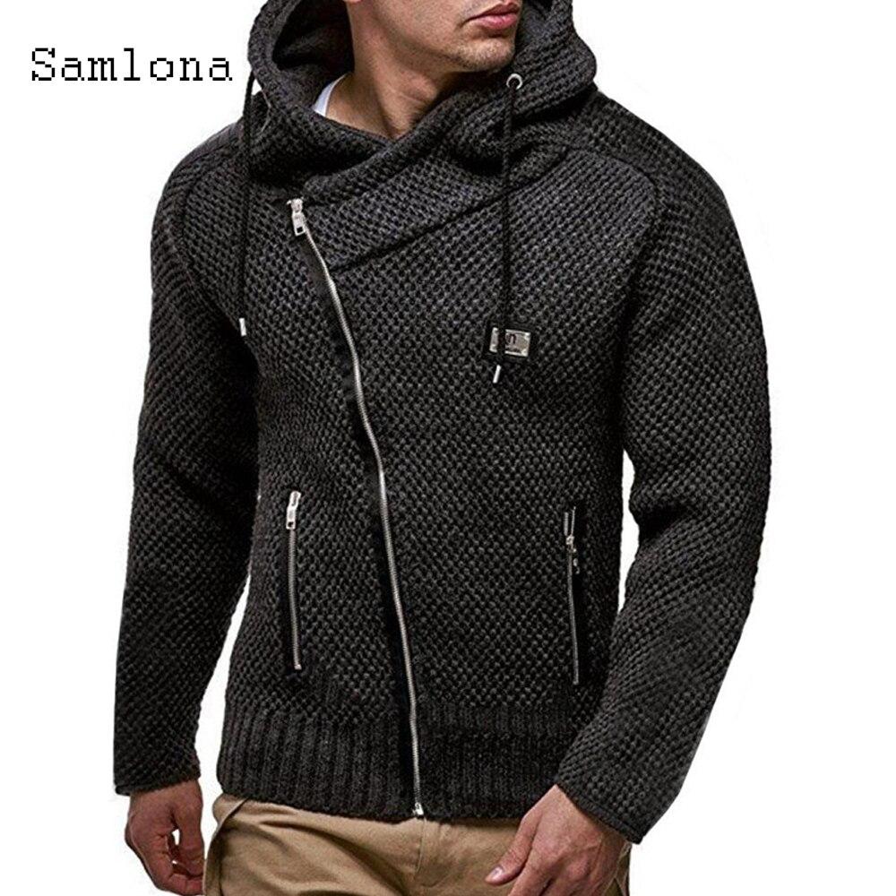 Samlona 2021 на весну и зиму, свитер на молнии с нестандартными; Повседневная вязаная одежда размера плюс мужские кардиганы вязаный свитер челове...