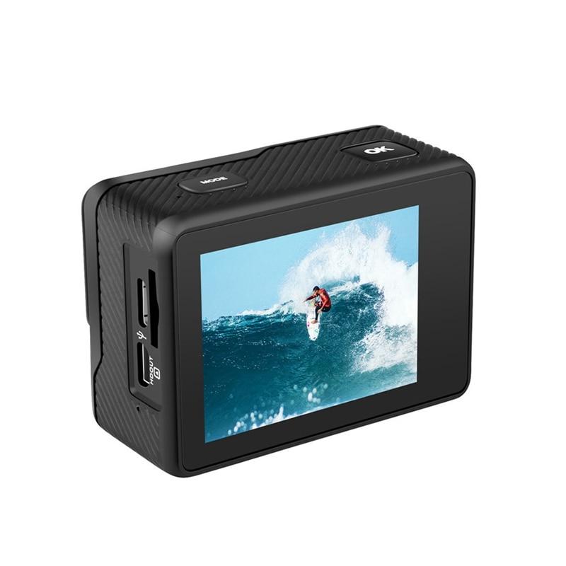 AT-Q60C عمل كاميرا 4K 60FPS 24MP 2.0 بوصة IPS شاشة كاميرا ويب مقاوم للماء برو خوذة كام كاميرا رياضية